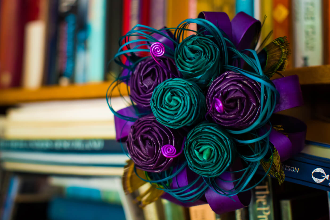 Purple And Teal Flax Bouquet 79 Keepsake Bouquets